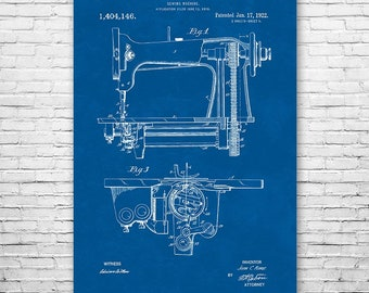 Sewing Machine Poster Art Print, Sewing Poster, Sewing Art, Sewing Wall Art, Sewing Machine Patent, Quilting Gift, Sewing Gift, Patent Art