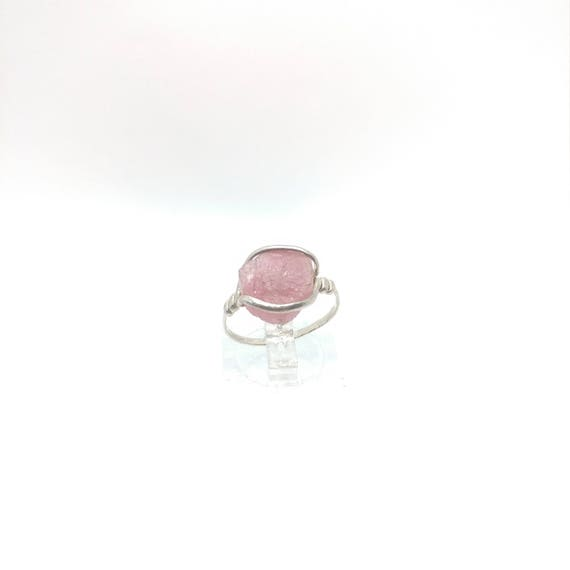 Raw Tourmaline Ring | Sterling Silver Ring Sz 6.5  | Pink Tourmaline Ring | Uncut Gemstone Ring | Tourmaline Jewelry | October Birthday