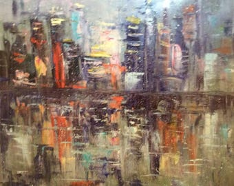 City Lights Abstract City Painting Original Oil Painting 30 x 30""