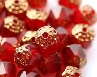8mm Red Cathedral beads with golden ends, czech glass beads, round, fire polished - 15Pc - 0850