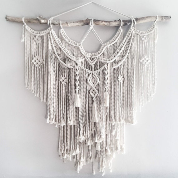 large 44 macrame wall hanging tapestry macrame. Black Bedroom Furniture Sets. Home Design Ideas