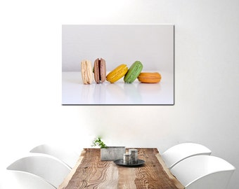 Kitchen canvas wall art dining room wall art canvas photography, french macaron food artwork, modern kitchen still life, large canvas art