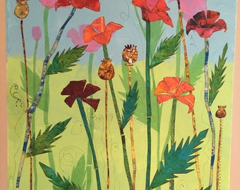 Poppy Field Mixed Media Collage 18 x 24