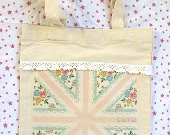 Tote bag girl - Union Jack girly and lace - cotton and love