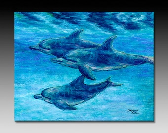 Dolphin Cruise Ceramic Tile Wall Art