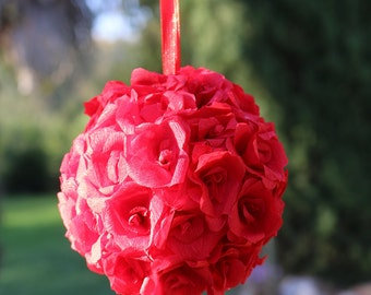 Red flower ball, red kissing ball, Paper flowers, Wedding flower ball, flower girls, Wedding decor, Centerpiece, Rose ball, Wedding pomander