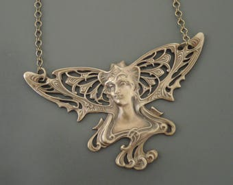 Vintage Jewelry - Art Nouveau Necklace - Vintage Necklace - Mucha Necklace - Fairy Necklace - Statement Necklace - French Brass Necklace