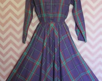Liz Claiborne Purple Plaid Shirtwaist Dress Size 4 True Vintage Cotton