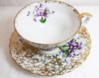 Spring Purple Violets Tea Cup and Saucer Set, Napco Japan, Vintage 1950s