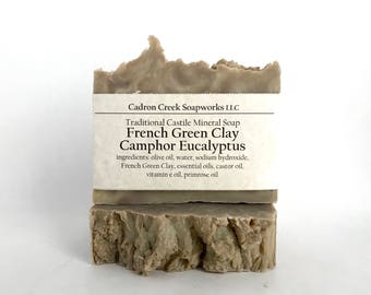 Camphor Eucalyptus French Green Clay  Castile Soap made with Essential Oils