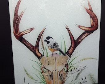 handcrafted tempered glass cutting board deer skull original artwork