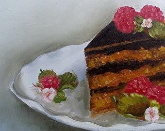Oil Painting of German Chocolate Cake
