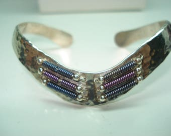 Sterling Silver Fancy Hand Pounded Cuff Bracelet