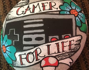 Hand painted 'gamer for life' old school tattoo style rock
