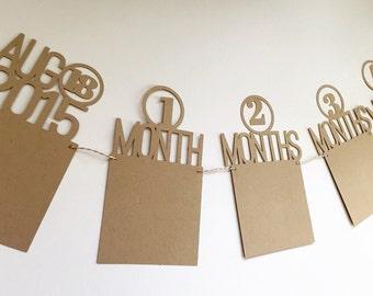 Birthday Banner, First Year Photo Banner, 1st Birthday Photo Banner, One Year Photo Banner, Monthly Picture Banner, Baby Birthday Banner