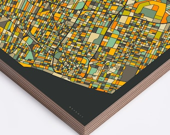 DETROIT MAP Ready to Hang Wood Print (Wall Art for your Home Décor) dark version