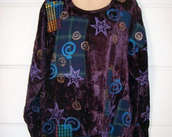 V.C.Torias 80's Crushed Velvet Hand painted Appliqued Purple Tunic Top Wearable Art One Size