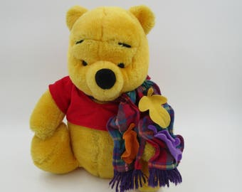 WINNIE the POOH Stuffed Animal, Winnie the Pooh blustery day, Winnie the Pooh with Scarf, vintage Winnie the Pooh, Vintage Plush Animal