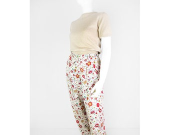 Summer vintage trousers with floral print 38