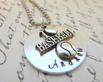 Personalized Baseball Necklace Hand stamped I love baseball custom necklace sports