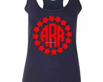 momogram womens tank,star monogram shirt,4rth of july shirt,star shirt,independence day shirt,personalized womens tank,initials top