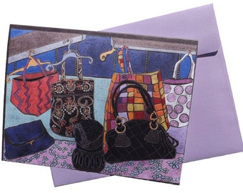 Art note card   'Bag Lady'