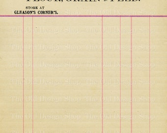 Vintage Accounting Ledger Page Printable Ephemera Brigham Gleason Flour Grain and Feed Invoice Digital Download JPG