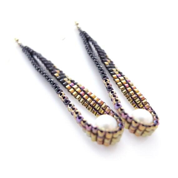Stardust Earrings, White Pearl Earrings, Dangle Earrings, Beaded Earrings, Black and Gold Earrings, Pixel, Luxe, Classic, OOAK