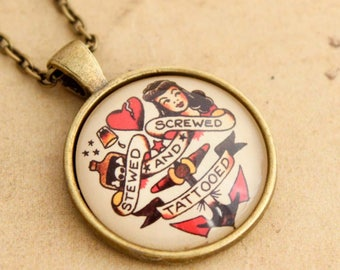 Stewed, Screwed & Tattooed Necklace, Sailor Jerry Pendant, Rockabilly Necklace, Tattoo, Pinup Pendant, 50's, Vintage, Punk, Gift For Her