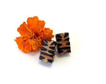 Tiger Stripe Rectangle Earrings