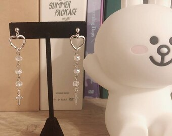 crystal hearts earrings