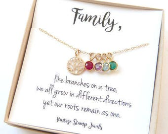 Family Tree Necklace, Mothers Day Jewelry Birthstone Jewelry, Gift from Husband, Children's Birthstones, Gift for her,Original charm,