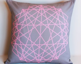 Geometric  decorative pillow cover, cushion cover, eco friendly organic cotton throw cushion 16x16 geo print 02