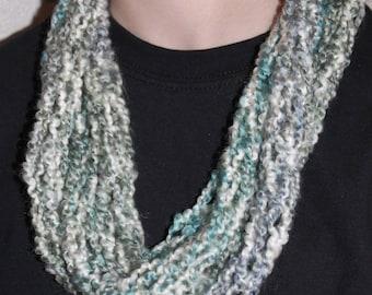 Ocean Finger Knit Infinity Scarf