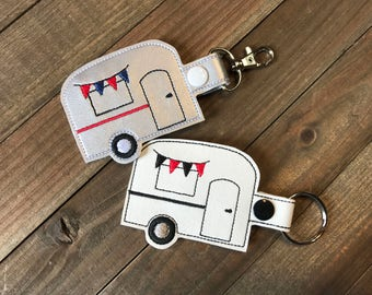 Camper Keychain, Camper Keyfob, Camper Bag Tag, Camper Zipper Pull, You choose from 70 Colors!