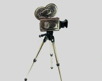 Vintage Miniature Movie Camera made of Sterling Silver and Wood