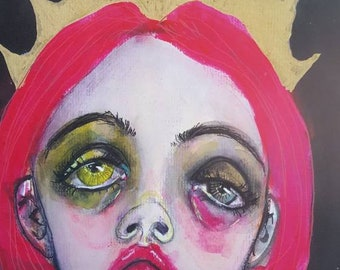 Print of a mixed media original painting. The crown, 2. Sad girl art. Crowned girl. Strange weird lowbrow art. Abstract imaginative portrait