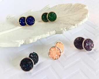 Faux Druzy Studs, Sparkly Stud Earrings, Faux Druzy Earrings, Emerald Green Studs, Purple Studs, Coral Studs, Peach Studs, Royal Blue Studs