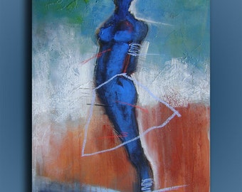 Elevation-Acrylic abstract figurative painting on canvas