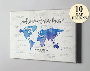 Guest book map etsy sale 50 off canvas guest book destination wedding signature guestbook world map travel themed guestbook watercolor world map art cgb212 gumiabroncs Gallery