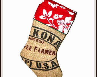 RESERVED LISTING for Meredith - Kona Coffee Xmas Stocking