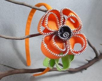 Orange California Poppy Flower Headband Made-To-Order- Zipper Flower - Upcycled - Recycled - Repurposed -Girls Headband zipper headband