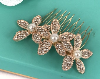 Ella - Vintage Style  Rhinestone Flower and glass pearls Bridal Comb