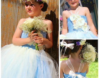 Vintage Charm - Couture Flower Girl  Tutu Dress in Blue & Ivory SIZES 2T - girls 7