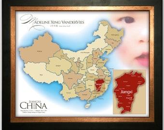 Beautiful China Adoption Print Customized with Child's Name, Photo, and Province 16x20