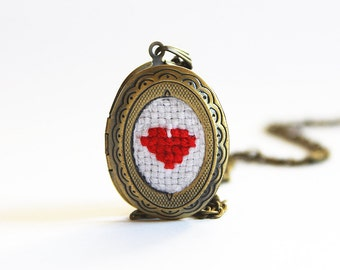 Red Cross Stitch Heart Locket, Valentine's Day Necklace Turquoise, Small Heart Pendant, Cotton Anniversary Gift, Wedding Embroidery Jewelry