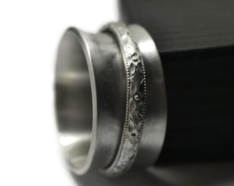 Victorian Style Jewelry, Floral Spinner Ring, Men's Wide Sterling Silver Spinning Wedding Band, Worry & Meditation Jewelry