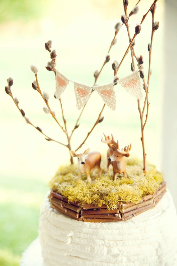 Forest Full of Love Deer Wedding Cake Topper