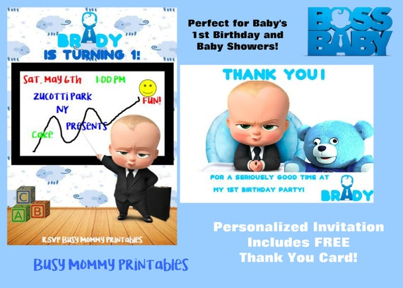 Boss Baby Inspired Personalized Invitation With FREE Thank You Card