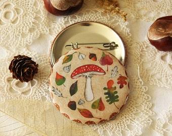 Badge - Button - Autumn Mushroom